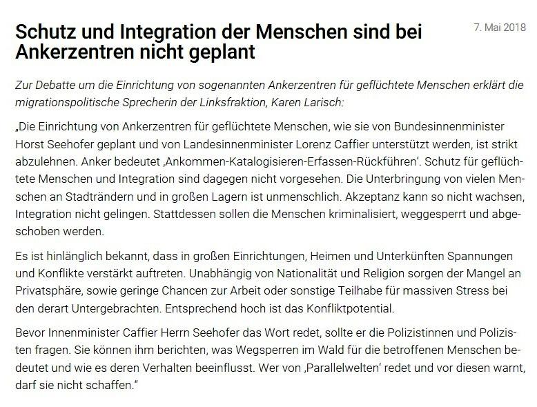 Schutz und Integration der Menschen sind bei Ankerzentren nicht geplant - Erklärung der e migrationspolitischen Sprecherin der Linksfraktion, Karen Larisch, zur Debatte um die Einrichtung von sogenannten Ankerzentren für geflüchtete Menschen