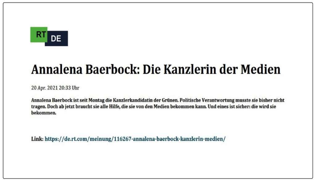 Annalena Baerbock: Die Kanzlerin der Medien -  RT DE -  20 Apr. 2021 20:33 Uhr