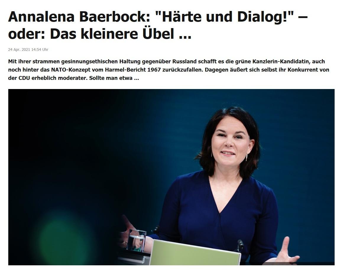 Annalena Baerbock: 'Härte und Dialog!' – oder: Das kleinere Übel ... -  RT DE -  24 Apr. 2021 14:54 Uhr