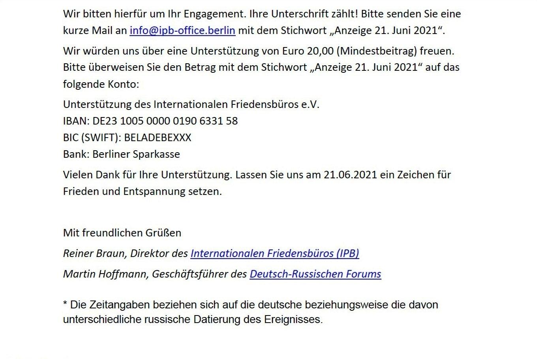 Aufruf mit Bitte um Unterstützung - Anschreiben zur Anzeige zum 80. Jahrestag des Überfalls Nazideutschlands auf die Sowjetunion - Liebe Freunde, gern gebe ich Euch nachfolgenden Aufruf mit Bitte um Unterstützung zur Kenntnis - Aus dem Posteingang vom 21.05.2021 von Dr. Marianne Linke - Anschreiben Teil 2
