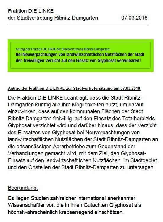 Antrag der Fraktion DIE LINKE der Stadtvertretung Ribnitz-Damgarten: Bei Neuverpachtungen von landwirtschaftlichen Nutzflächen der Stadt den freiwilligen Verzicht auf den Einsatz von Glyphosat vereinbaren!