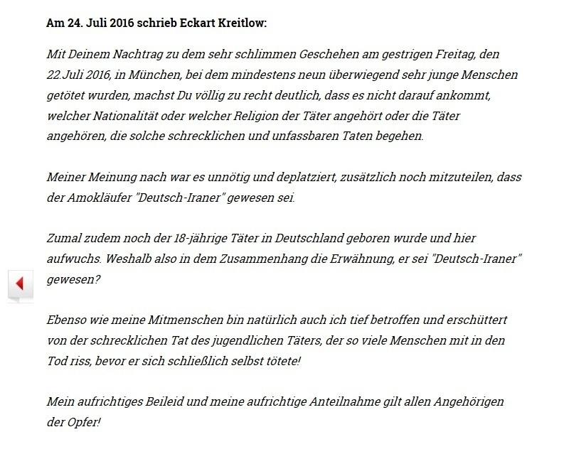 Ostsee-Rundschau.de - Antwort an Uli Gellermann, Rationalgalerie.de zu Amoklauf in München - Aufrichtiges Beileid und aufrichtige Anteilnahme gilt allen Opfern!