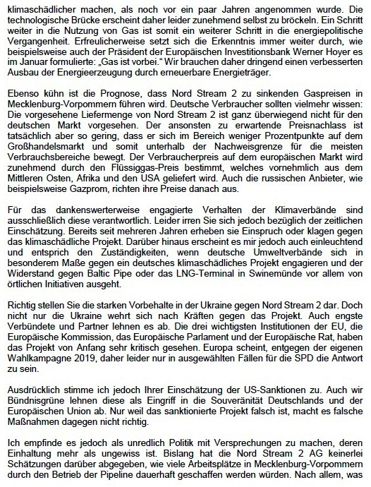 Antwort von MdB  Claudia Müller (Bündnis 90/Grüne) auf den Offenen Brief 'Viele Fragen zu Nordstream 2' des langjährigen Stralsunder SPD-Lokalpolitikers  Rüdiger Kuhn - Offener Brief 'Viele Fragen zu Nordstream 2' von Rüdiger Kuhn veröffentlicht in der  Zeitung am Strelasund vom 11.04.2021 - Aus dem Posteingang von Siegfried Dienel vom 27.04.2021 - Abschnitt 2