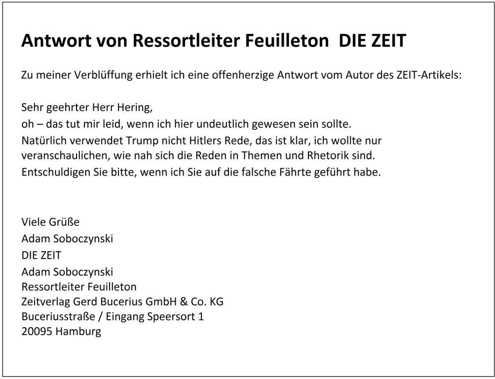Antwort von Ressortleiter Feuilleton DIE ZEIT