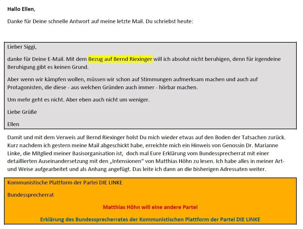 Aus dem Posteingang von Siegfried Dienel vom 23.01.2021 - Antwort auf die E-Mail an Ellen Brombacher - Abschnitt 1 von 5