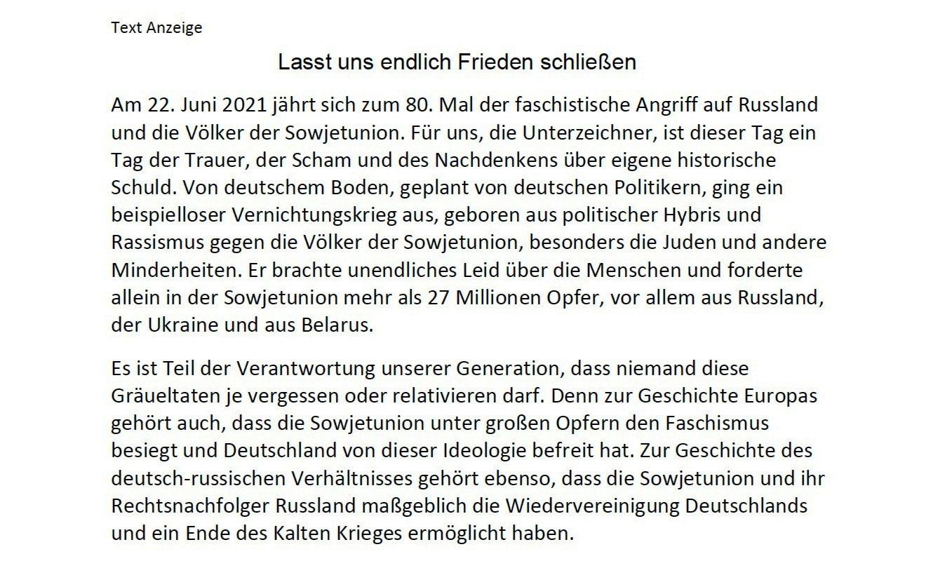 Aufruf mit Bitte um Unterstützung - Anzeige zum 80. Jahrestag des Überfalls Nazideutschlands auf die Sowjetunion - Liebe Freunde, gern gebe ich Euch nachfolgenden Aufruf mit Bitte um Unterstützung zur Kenntnis - Aus dem Posteingang vom 21.05.2021 von Dr. Marianne Linke - Anzeige Teil 1