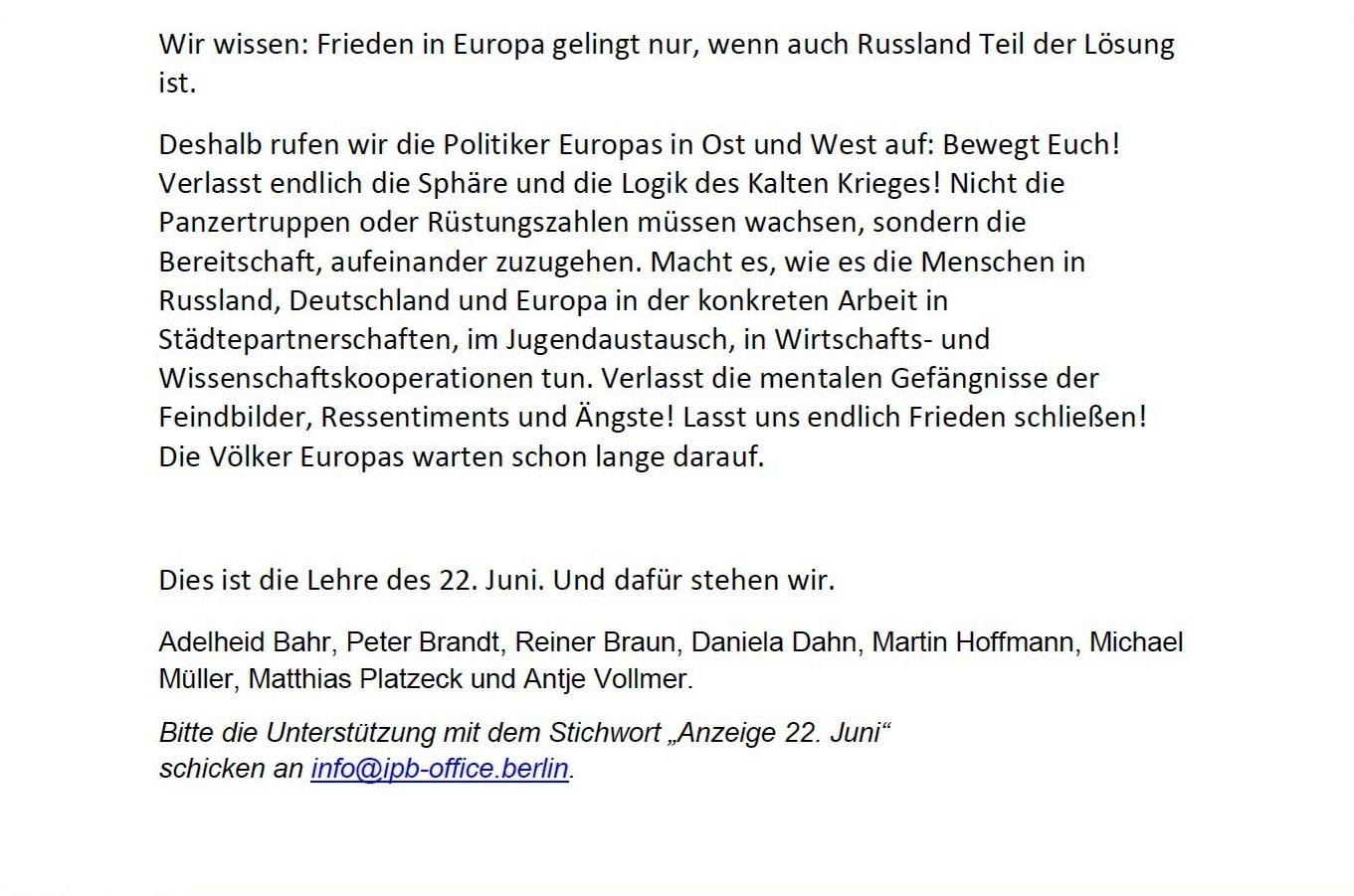 Aufruf mit Bitte um Unterstützung - Anzeige zum 80. Jahrestag des Überfalls Nazideutschlands auf die Sowjetunion - Liebe Freunde, gern gebe ich Euch nachfolgenden Aufruf mit Bitte um Unterstützung zur Kenntnis - Aus dem Posteingang vom 21.05.2021 von Dr. Marianne Linke - Anzeige Teil 2