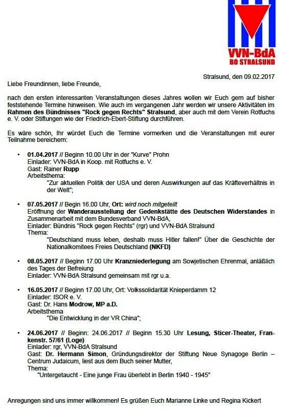Arbeitsplan 2017 Vereinigung der Verfolgten des Naziregimes - Bund der Antifaschistinnen und Antifaschisten  BO Stralsund