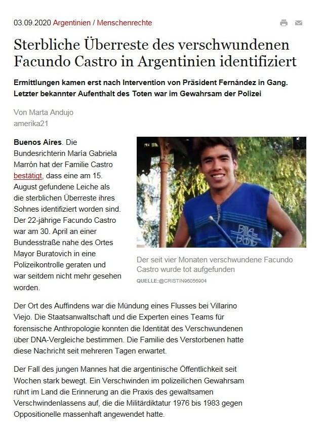 Sterbliche Überreste des verschwundenen Facundo Castro in Argentinien identifiziert - Ermittlungen kamen erst nach Intervention von Präsident Fernández in Gang. Letzter bekannter Aufenthalt des Toten war im Gewahrsam der Polizei - amerika21 - Nachrichten und Analysen aus Lateinamerika - 03.09.2020