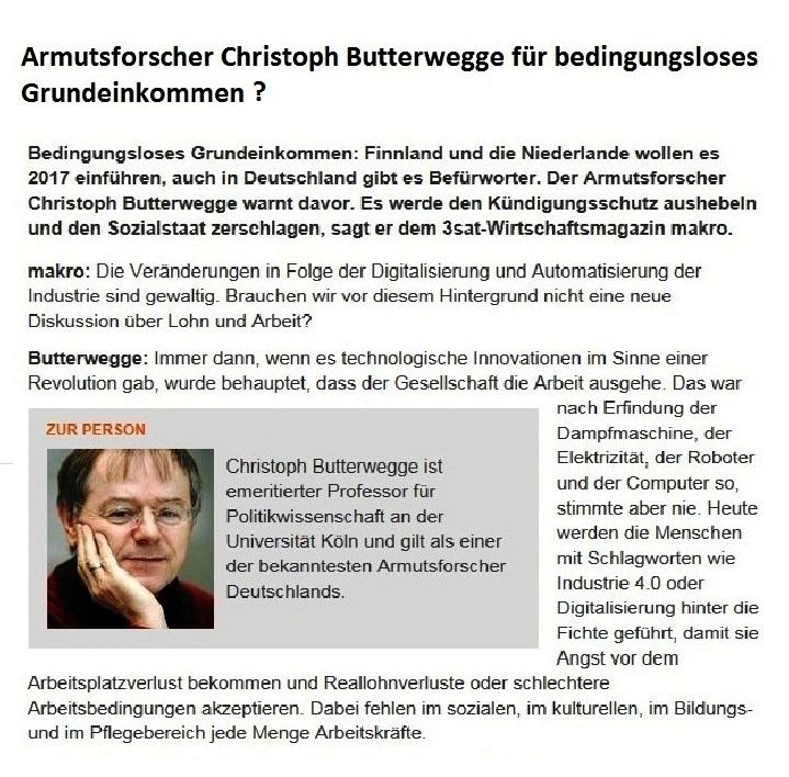 Armutsforscher Professor Dr. Christoph Butterwegge für ein bedingungsloses Grundeinkommen?
