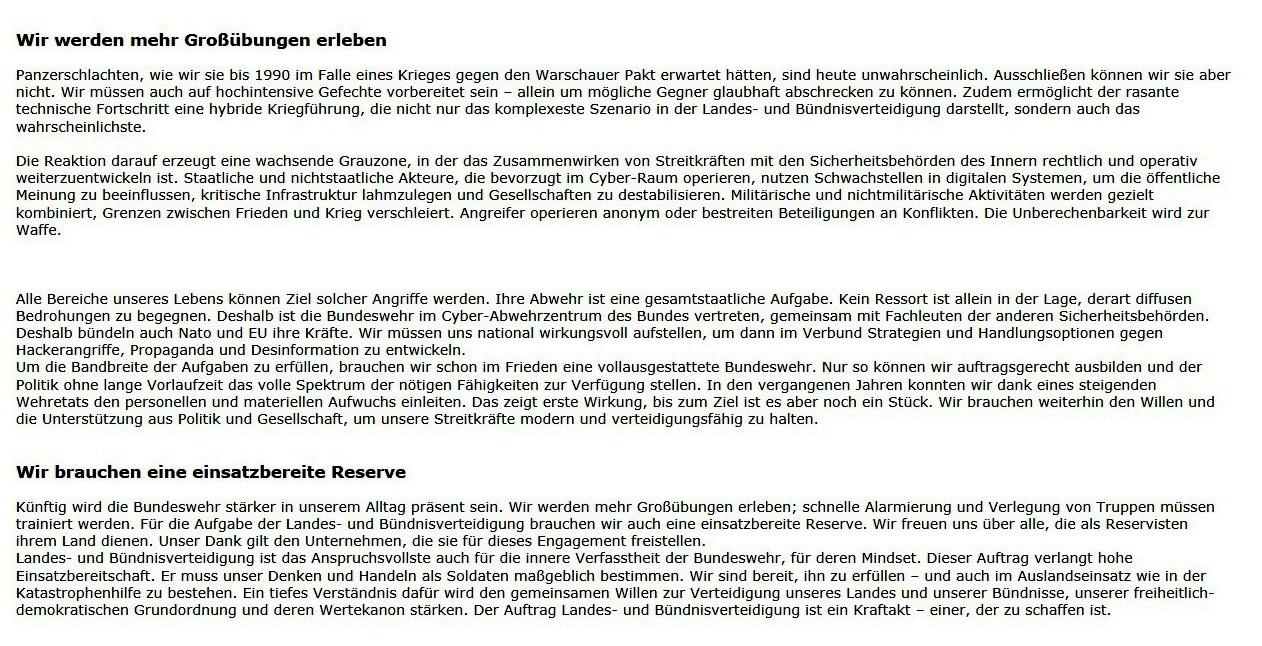 Aus dem Posteingang von Dr. Marianne Linke - 'Wir brauchen eine vollausgestattete Bundeswehr' -  Artikel von Eberhard Zorn - aktualisiert 01.10.2020