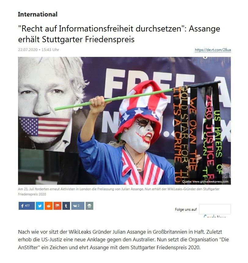 International - 'Recht auf Informationsfreiheit durchsetzen': Assange erhält Stuttgarter Friedenspreis  - RT Deutsch - 22.07.2020