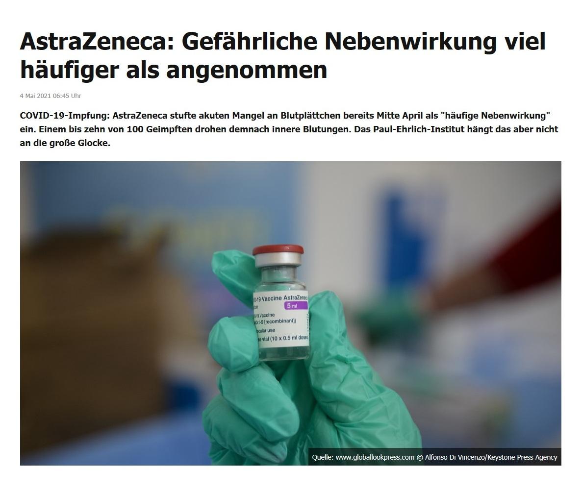AstraZeneca: Gefährliche Nebenwirkung viel häufiger als angenommen -  RT DE - 4 Mai 2021 06:45 Uhr