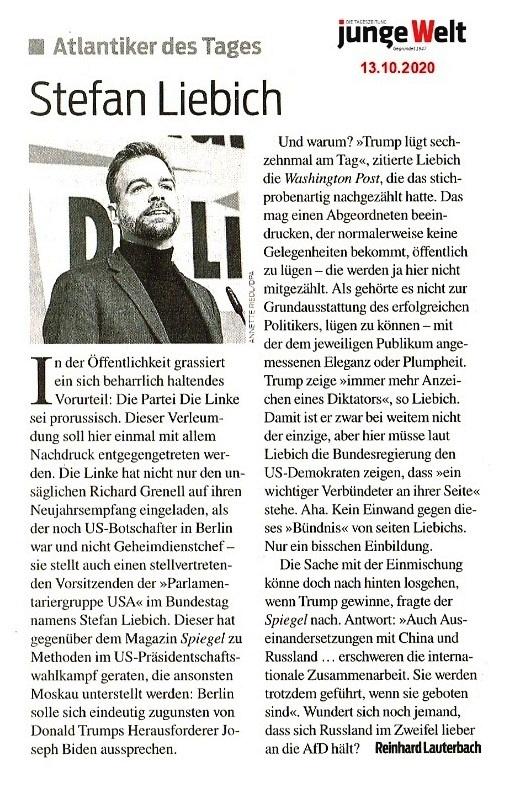 Aus dem Posteingang von Siegfried Dienel - Atlantiker des Tages Stefan Liebich - Von Reinhard Lauterbach - Tageszeitung junge Welt  Ausgabe vom 13.10.2020