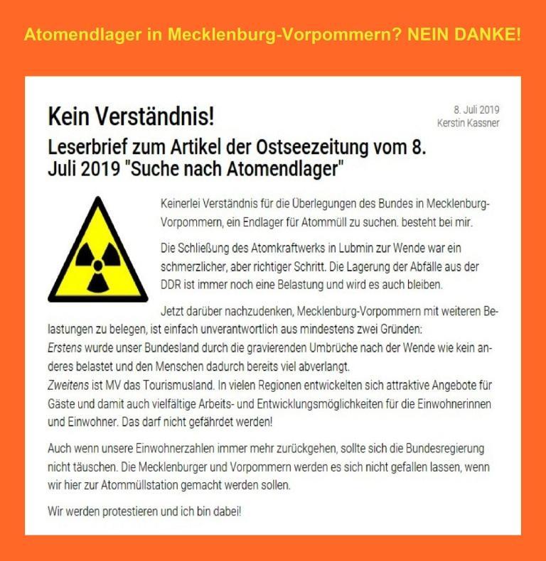 Meinung - Atomendlager in Mecklenburg-Vorpommern? NEIN DANKE! Kein Verständnis! Leserbrief der Bundestagsabgeordneten Kerstin Kassner, DIE LINKE,  an die Ostsee-Zeitung