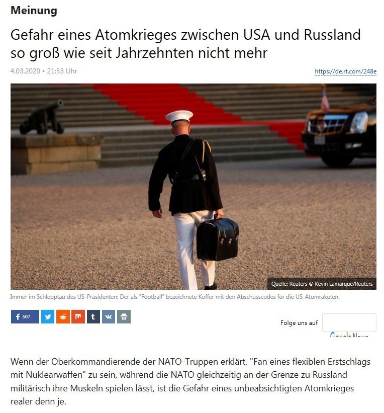 Meinung - Gefahr eines Atomkrieges zwischen USA und Russland so groß wie seit Jahrzehnten nicht mehr - RT Deutsch - 4.03.2020