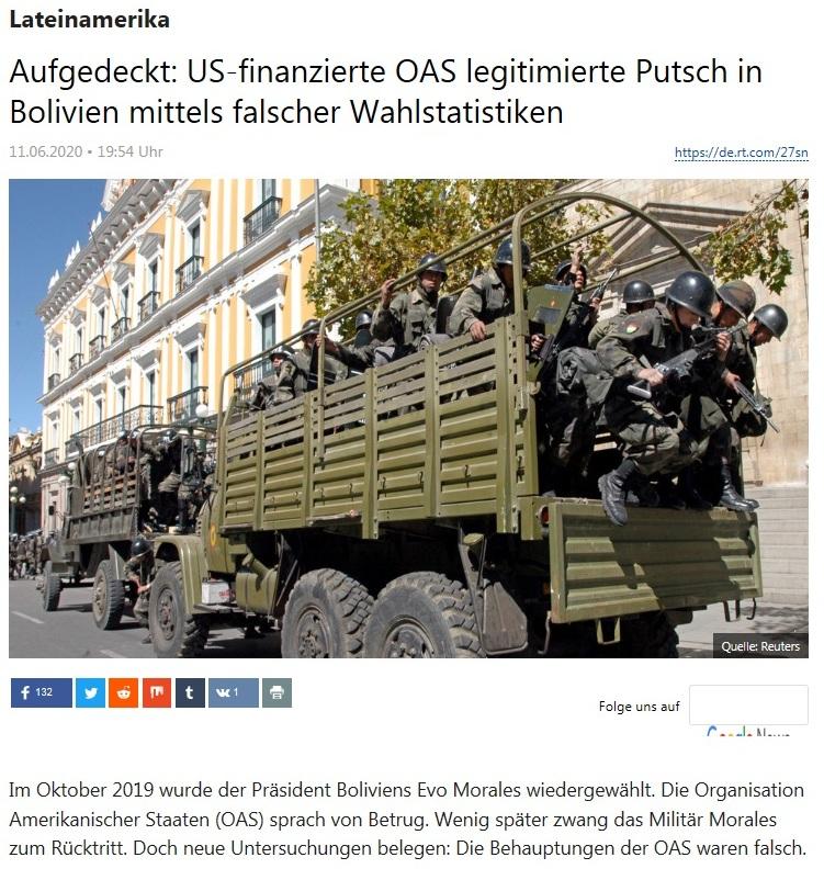 Lateinamerika - Aufgedeckt: US-finanzierte OAS legitimierte Putsch in Bolivien mittels falscher Wahlstatistiken - RT Deutsch - 10.06.2020