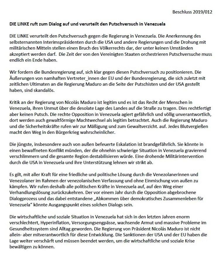 DIE LINKE - Aufruf des Parteivorstandes DIE LINKE zu Venezuela  - DIE LINKE ruft zum Dialog auf und verurteilt den Putschversuch in Venezuela - Beschluss 2019/012