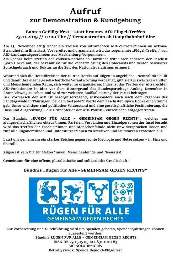 Buntes GeFlügelfest - statt braunes AfD Flügeltreffen - Aufruf zur Demonstration & Kundgebung des Bündnisses 'RÜGEN FÜR ALLE - Gemeinsam gegen Rechts'