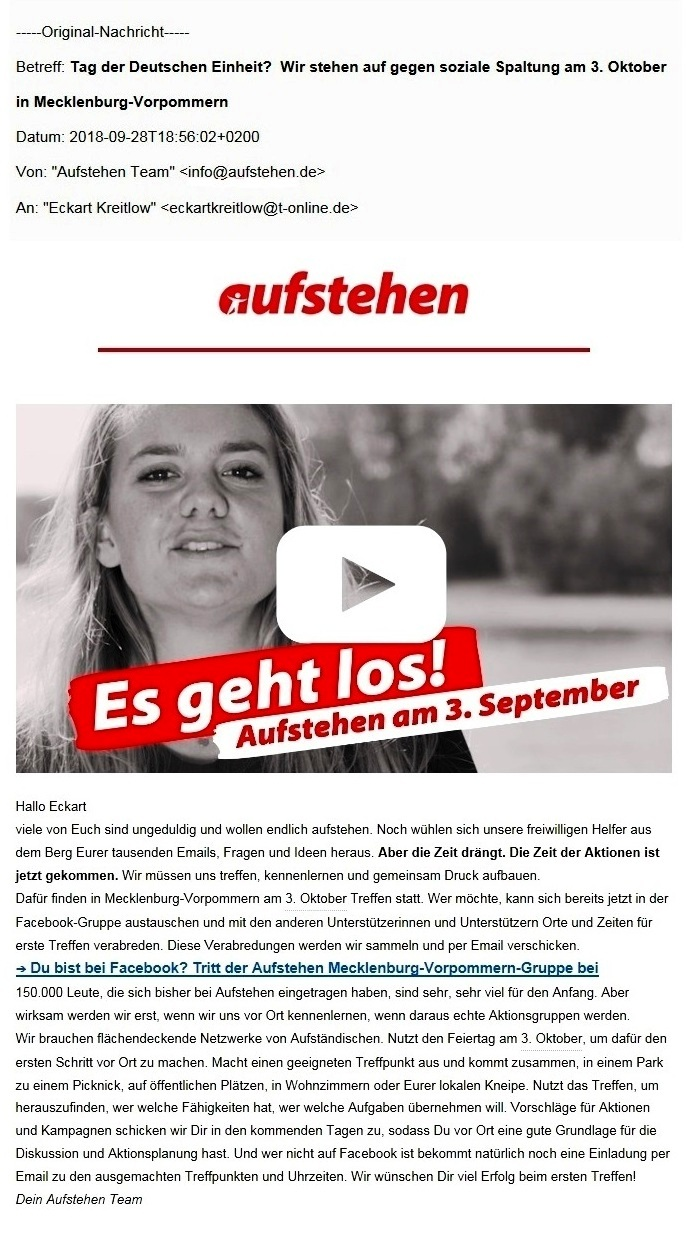 Aus dem Posteingang - Aufstehen-Team - Es geht los! Aufstehen am 3. Oktober! - Tag der Deutschen Einheit? Wir stehen auf gegen soziale Spaltung am 3. Oktober in Mecklenburg-Vorpommern