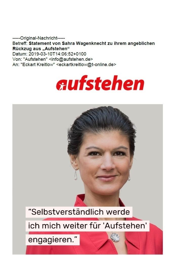 Aus dem Posteingang - Statement von Sahra Wagenknecht zu ihrem angeblichen Rückzug aus 'Aufstehen' - 1