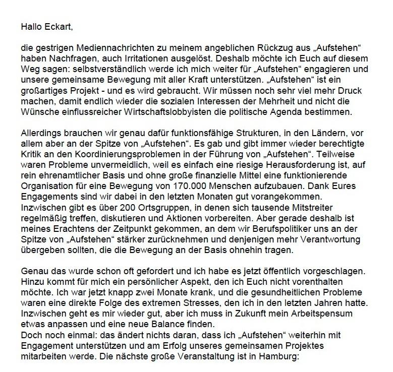 Aus dem Posteingang - Statement von Sahra Wagenknecht zu ihrem angeblichen Rückzug aus 'Aufstehen' - 2