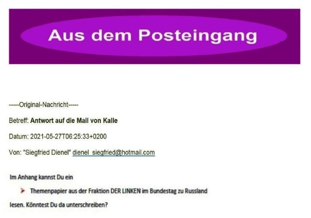 Aus dem Posteingang von Siegfried Dienel vom 27.05.2021