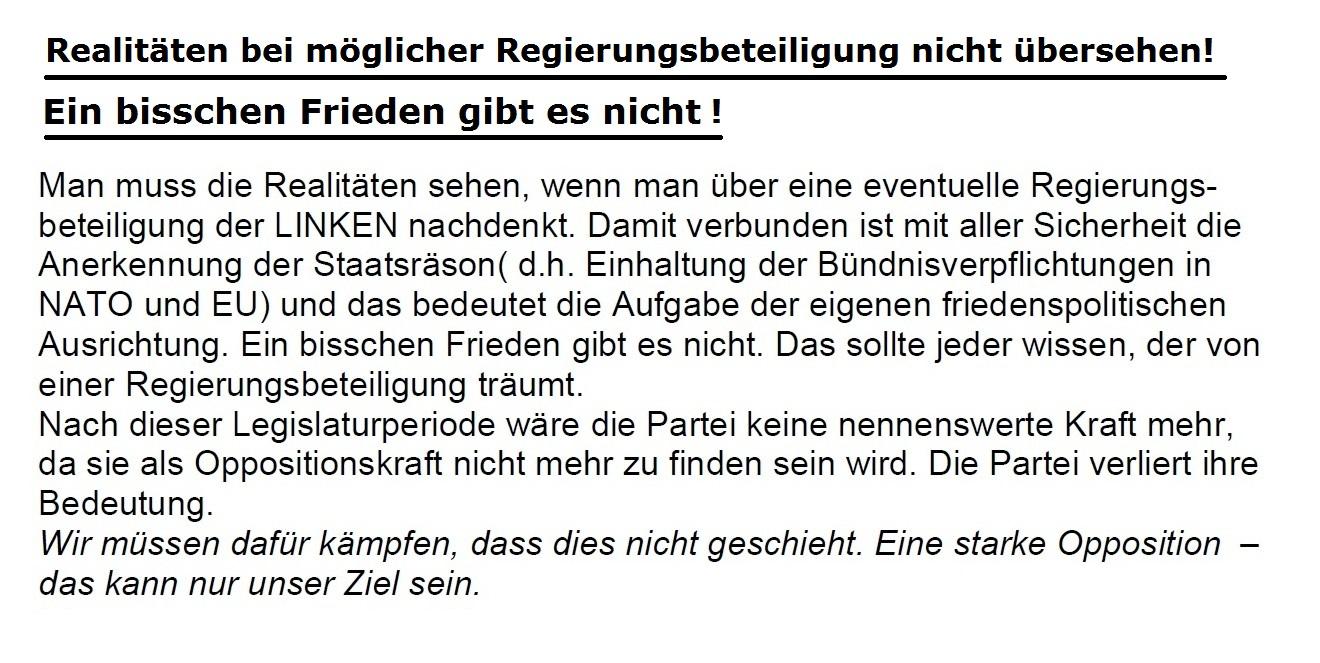 Ein bisschen Frieden gibt es nicht - Aus dem Mitgliederbrief der Kommunistischen Plattform der Partei DIE LINKE Mecklenburg-Vorpommern