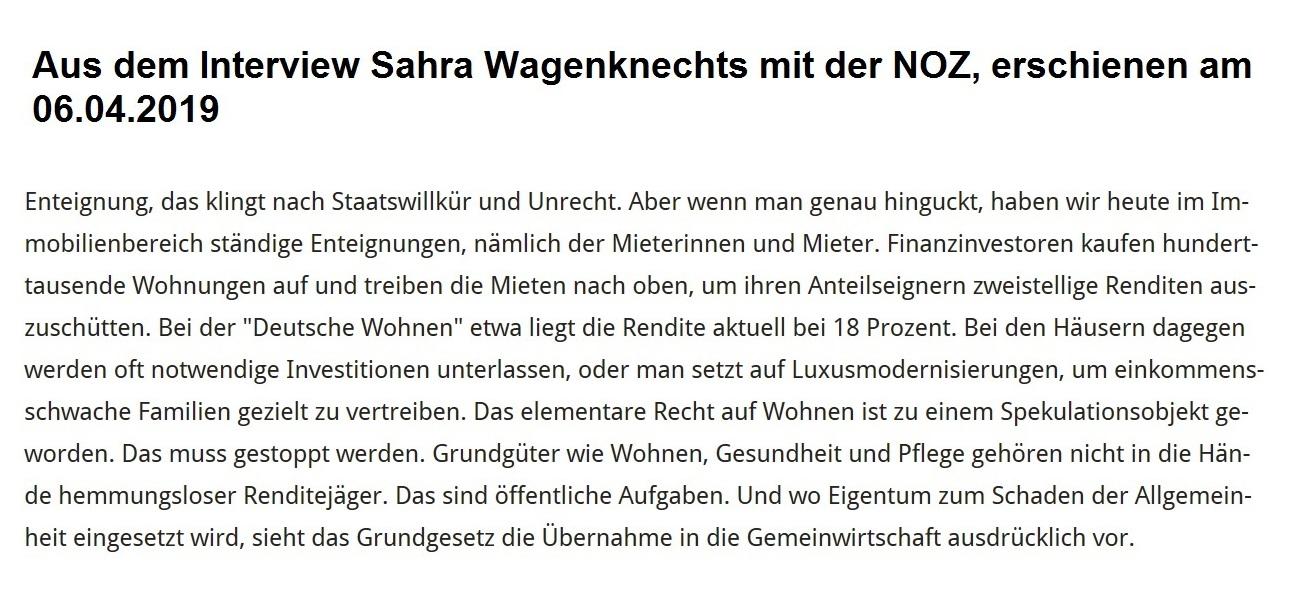 'Aus dem Interview Sahra Wagenknechts mit der Neuen Osnabrücker Zeitung - erschienen am 06.04. 2019 - 'So zerfällt der gesellschaftliche Zusammenhalt und auch die Demokratie' - Sahra Wagenknecht im Interview mit der NOZ, erschienen am 06.04.2019