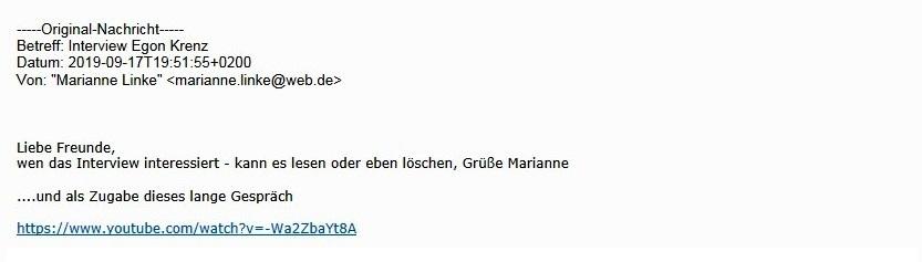 Aus dem Posteingang von Dr. Marianne Linke vom 17.09.2019 - Interview mit Egon Krenz