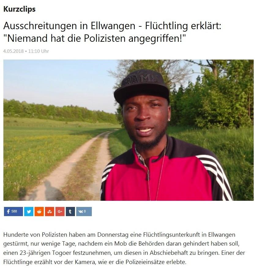 Kurzclips - Ausschreitungen in Ellwangen - Flüchtling erklärt: 'Niemand hat die Polizisten angegriffen!'