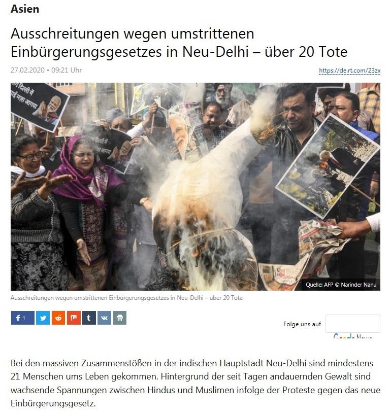 Asien - Ausschreitungen wegen umstrittenen Einbürgerungsgesetzes in Neu-Delhi – über 20 Tote  - RT DEUTSCH - 27.02.2020