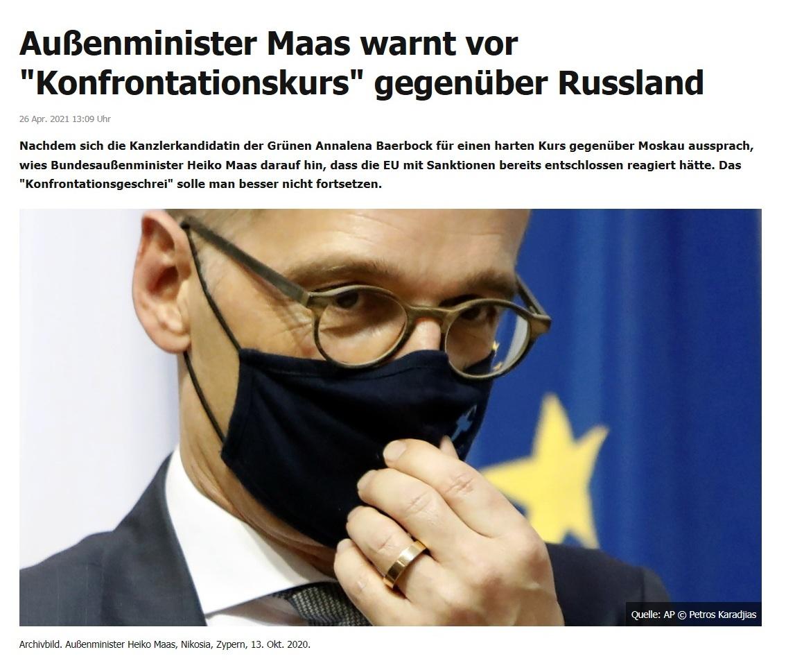 Außenminister Maas warnt vor 'Konfrontationskurs' gegenüber Russland -  RT DE - 26 Apr. 2021 13:09 Uhr