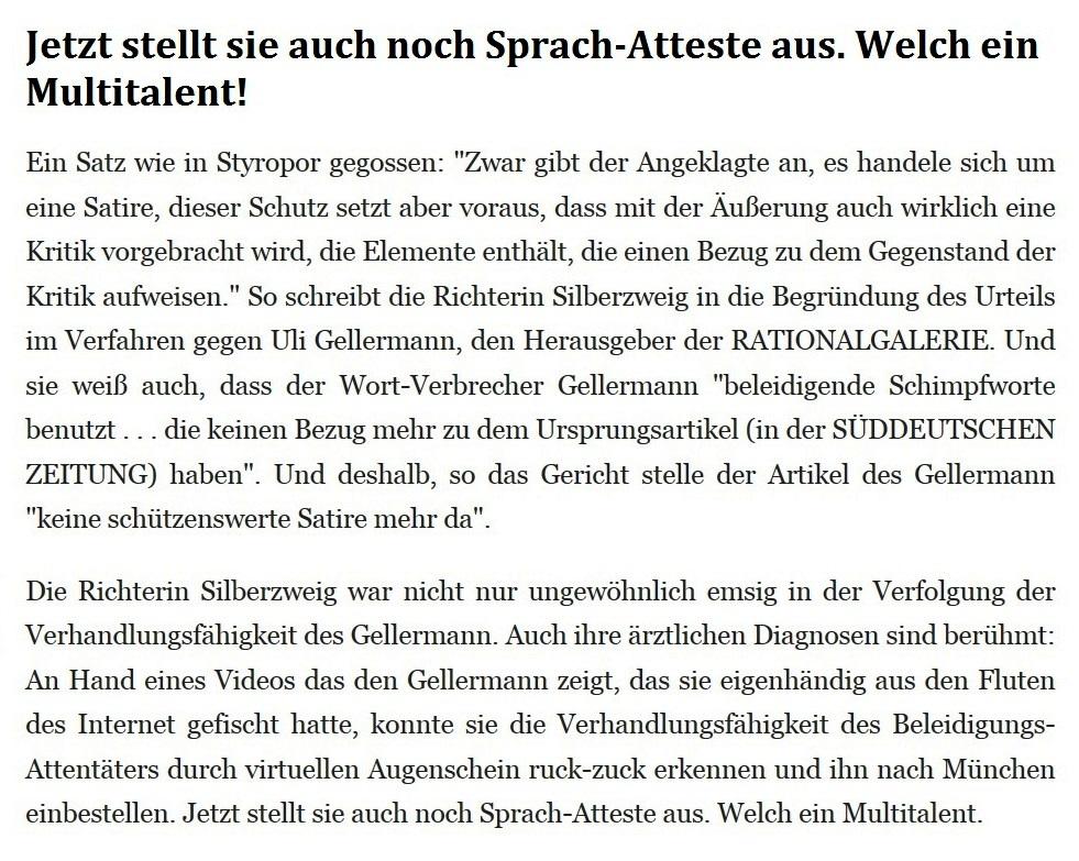 Rationalgalerie.de - Autor: Uli Gellermann - Im Namen des Volkes - Keine Satire, Herr Gellermann! - Jetzt stellt sie auch noch Sprach-Atteste aus. Welch ein Multitalent.