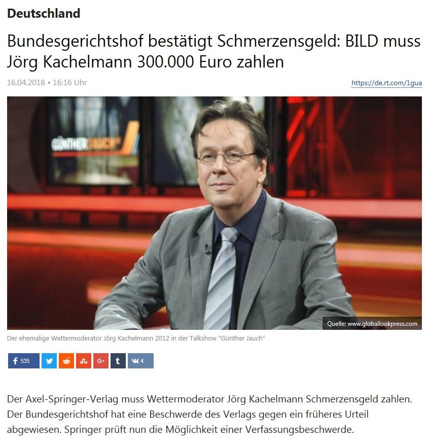 Deutschland - Bundesgerichtshof bestätigt Schmerzensgeld: BILD muss Jörg Kachelmann 300.000 Euro zahlen