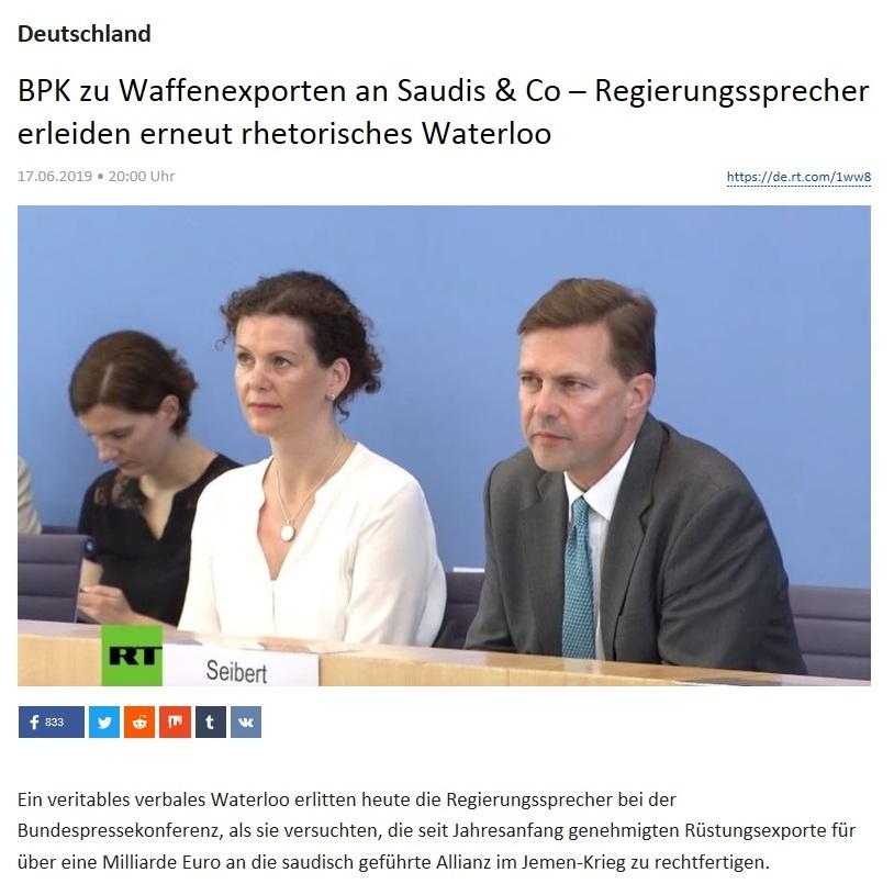 Deutschland - BPK zu Waffenexporten an Saudis & Co – Regierungssprecher erleiden erneut rhetorisches Waterloo