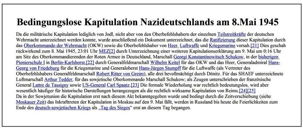 Bedingungslose Kapitulation Nazideutschlands am 8. Mai 1945