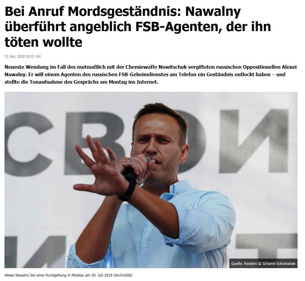 Bei Anruf Mordsgeständnis: Nawalny überführt angeblich FSB-Agenten, der ihn töten wollte - RT DE - 21 Dez. 2020 20:01 Uhr