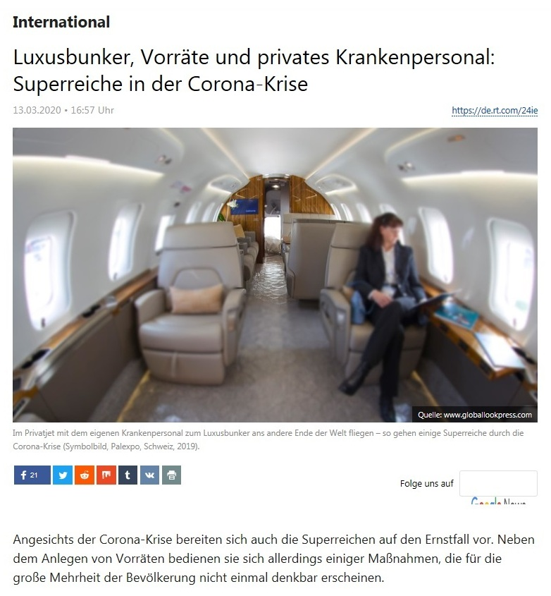 International - Luxusbunker, Vorräte und privates Krankenpersonal: Superreiche in der Corona-Krise  - RT Deutsch - 13.03.2020