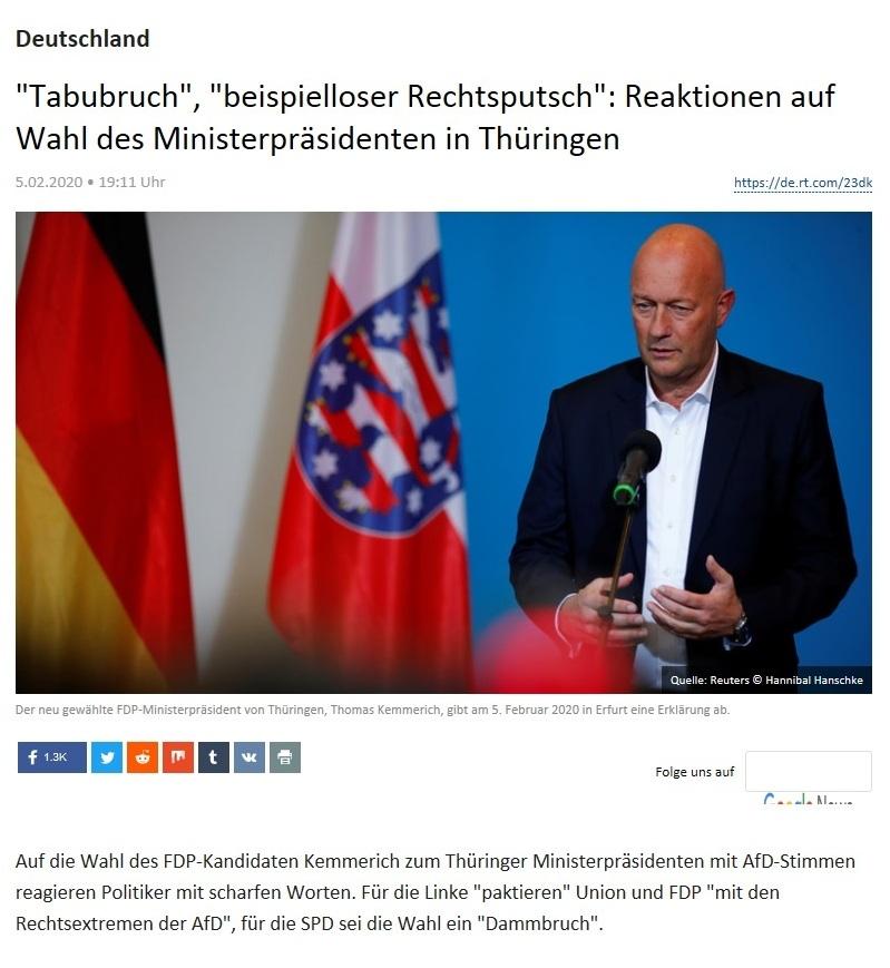 Deutschland -  'Tabubruch', 'beispielloser Rechtsputsch': Reaktionen auf Wahl des Ministerpräsidenten in Thüringen