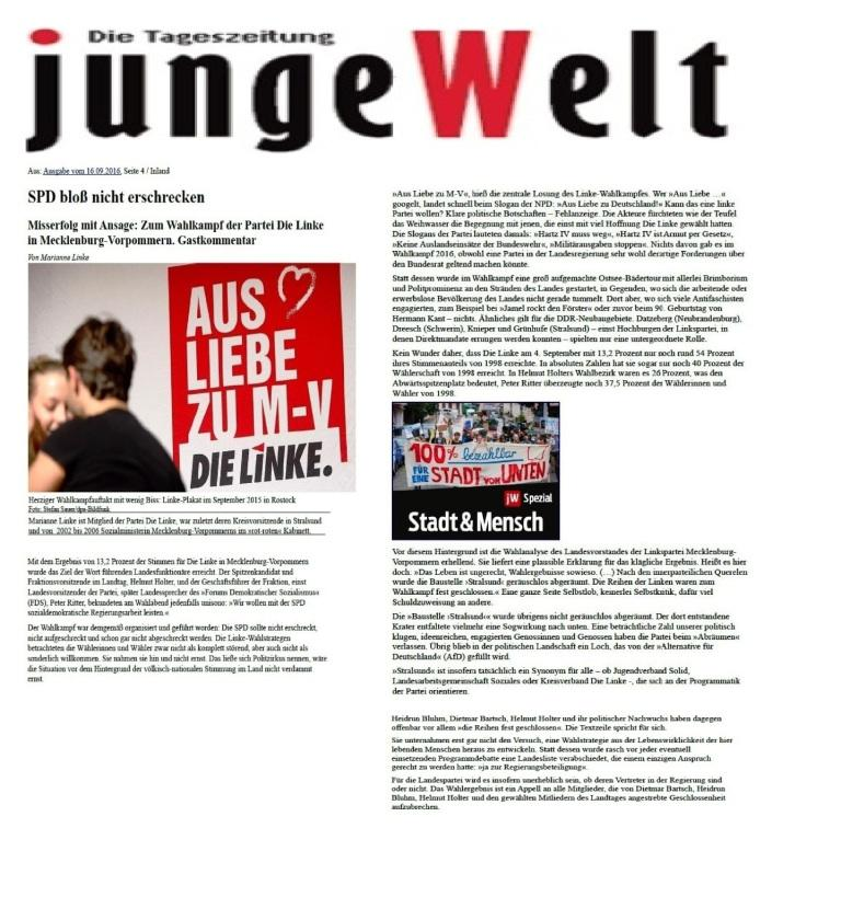 SPD blo� nicht erschrecken - Beitrag  in der Ausgabe der  Tageszeitung junge Welt vom 16.09.2016 von Dr. Marianne Linke