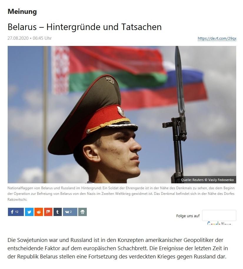Meinung - Belarus - Hintergründe und Tatsachen - RT Deutsch - 27.08.2020