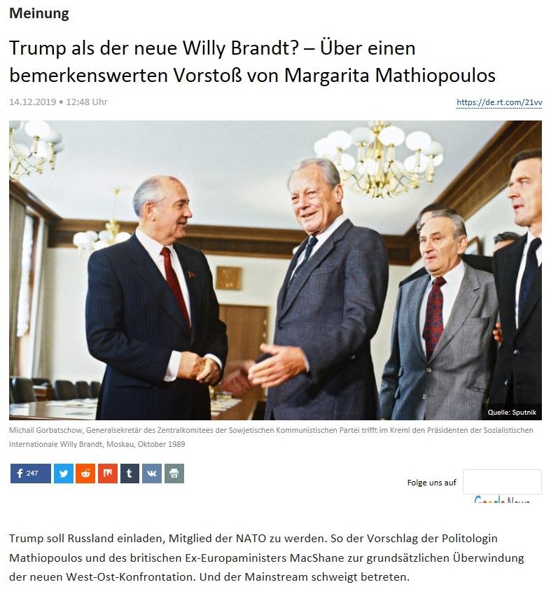 Meinung - Trump als der neue Willy Brandt? – Über einen bemerkenswerten Vorstoß von Margarita Mathiopoulos