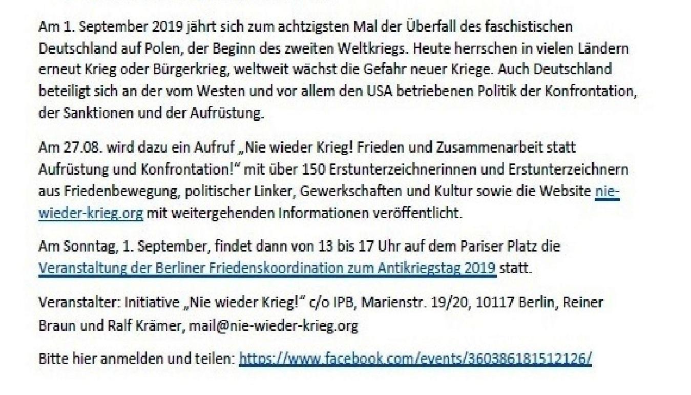 Aus dem Posteingang - Einladung zur Friedensveranstaltung am 31. 08. 2019 in Berlin
