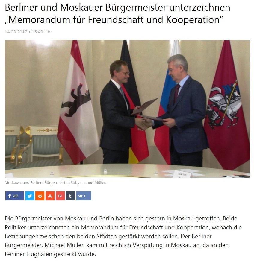 Berliner und Moskauer Bürgermeister unterzeichnen Memorandum für Freundschaft und Kooperation