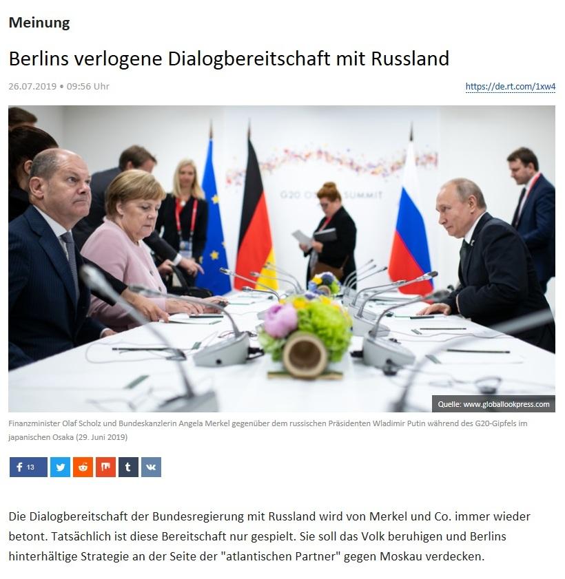 Meinung - Berlins verlogene Dialogbereitschaft mit Russland