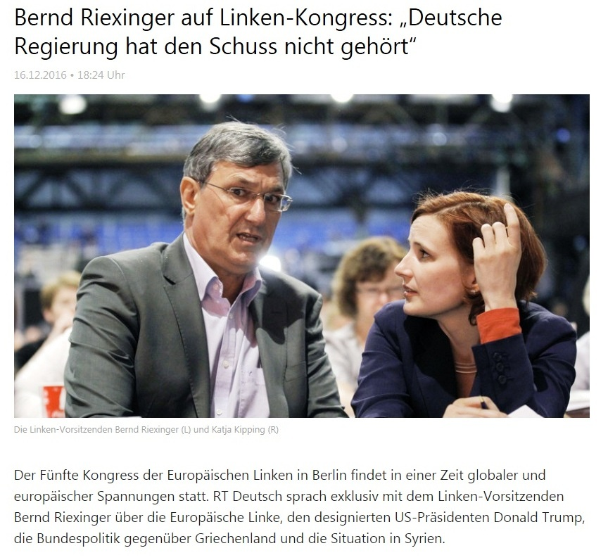 Bernd Riexinger auf Linke-Kongress: Deutsche Regierung hat den Schuss nicht gehört.