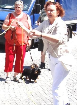 Am Stand der Mitglieder der Ribnitz-Damgartener Ortsgruppe der Deutschen Lebens-Rettungs-Gesellschaft versuchte Bundestagsabgeordnete Kerstin Kassner auch einmal den Zielwurf mit der Rettungsleine. Foto: Eckart Kreitlow