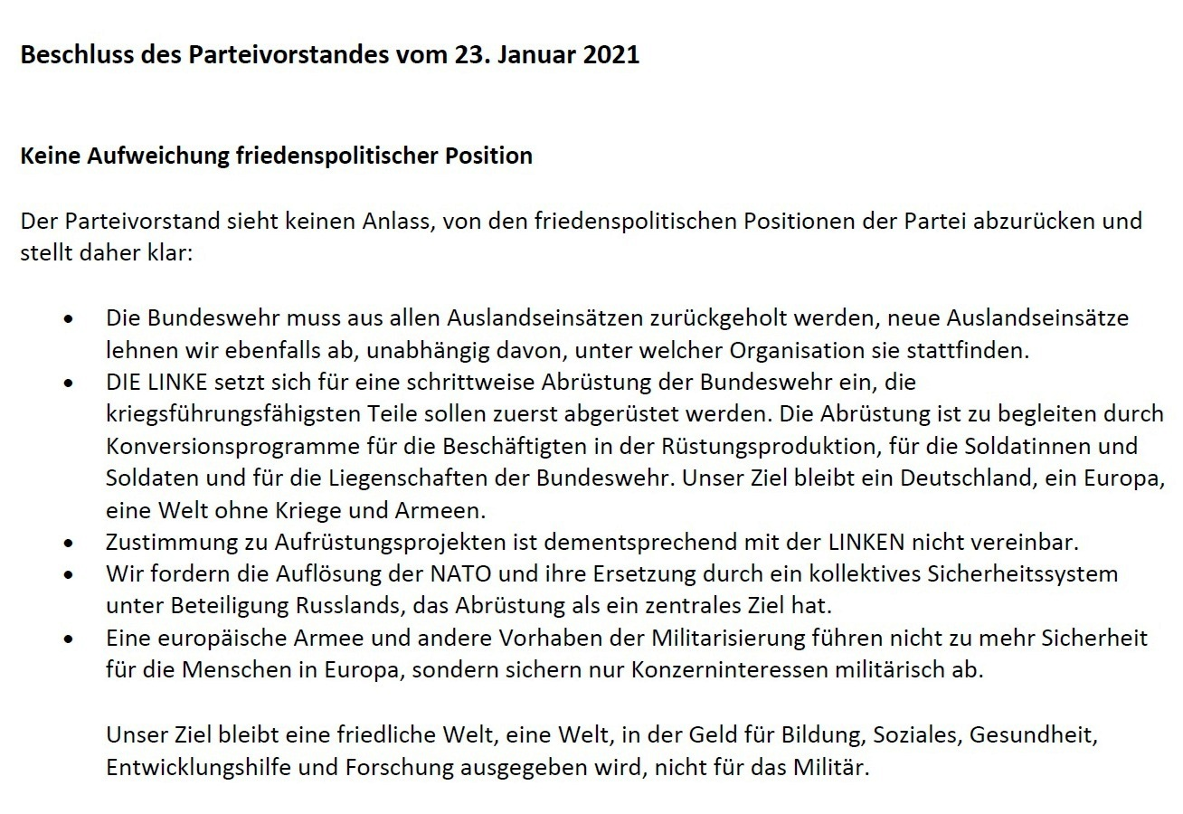 Beschluss des Parteivorstandes der Partei DIE LINKE vom 23.01.2021 - Aus dem Posteingang von Siegfried Dienel vom 25.01.2021 - PDF