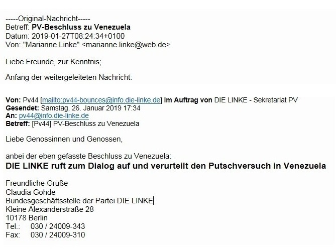 Aus dem Posteingang von Dr. Marianne Linke - Beschluss des Parteivorstandes DIE LINKE zu Venezuela